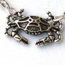 Steampunk NAUTICAL CRAB Pendant Necklace - Antique Silver
