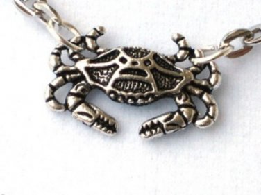 Steampunk NAUTICAL CRAB Pendant Necklace - Antique Silver