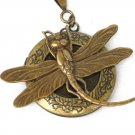 Steampunk Sweet Dragonfly Necklace Pendant  locket Antique Silver