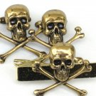 Steampunk SKULL & CROSSBONES Gothic  Men Tie Bar Clip and Cufflinks Steam Punk