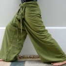 Thai Cotton Drill Fisherman Pants Yoga Dance Trousers OLIVE Green Stripe Plus Size XXXL 3XL