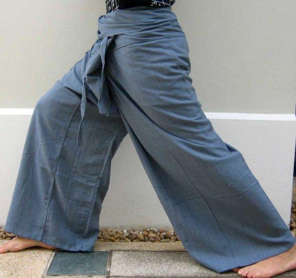 Thai XXXL 3XL Plus Size Cotton Drill Fisherman Yoga Pants GRAY Stripe