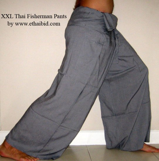 Thai Rayon FISHERMAN Pants Yoga Trousers GRAY 2XL PLUS SIZE XXL