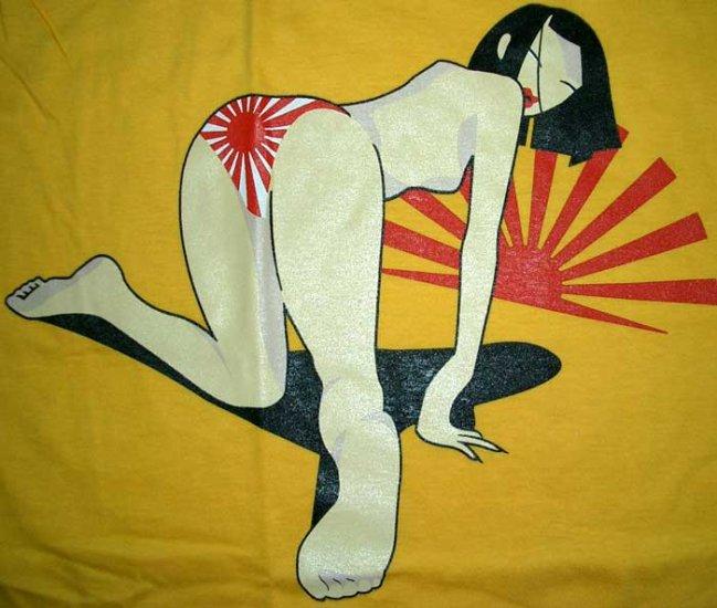NORTH DRAGON Japanese Bikini Girl T-Shirt M Medium Yellow