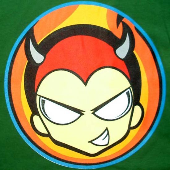 NORTH DRAGON Horny Little Devil Punk Rock Disco Rave T-Shirt L Large Green