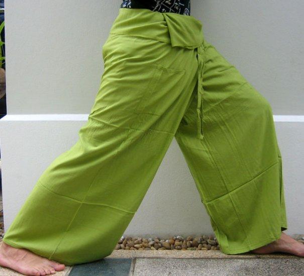 Thai PLUS SIZE XXL Rayon FISHERMAN Pants Yoga Trousers Olive Green