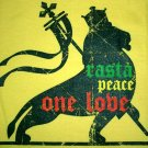 RASTA PEACE ONE LOVE LION of Judah Roots REGGAE T-Shirt S Small Yellow