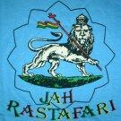 JAH RASTAFARI LION of JUDAH Roots Rasta Irie REGGAE T-Shirt M Medium Light Blue