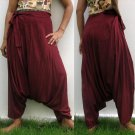Thai Hmong Hilltribe Pants FREESIZE Rayon BURGUNDY RED Free Ship!