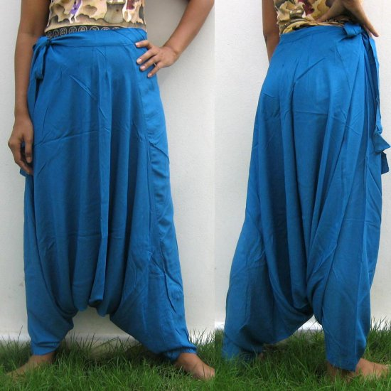 Thai Hmong Hilltribe Pants FREESIZE Rayon SKY BLUE Free Ship!