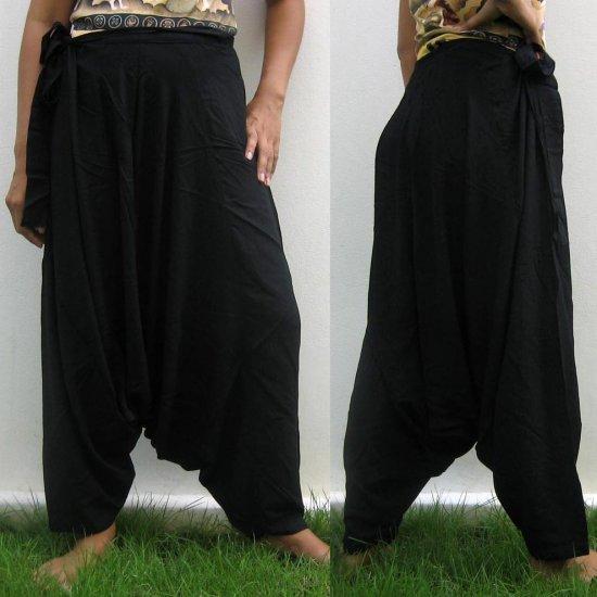 Thai Hmong Hilltribe Pants FREESIZE Rayon BLACK Free Ship!