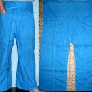 Thai Cotton Drill FREESIZE Fisherman Yoga Pants SKY BLUE Stripe