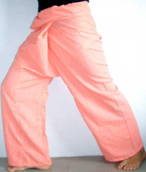Thai Cotton Drill FREESIZE Fisherman Yoga Pants SALMON PINK