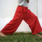 Thai Plus Size XXXL Cotton Fisherman Pants RED Striped Free Shipping!