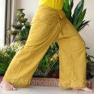 Thai Cotton FREESIZE Fisherman Yoga Pants SAFFRON AMBER GOLD Free Ship!