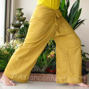 Thai Cotton FREESIZE Fisherman Yoga Pants SAFFRON AMBER GOLD Free Ship!