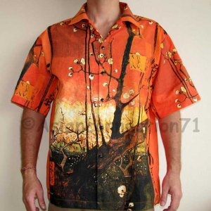 PLUM TREES Van Gogh JAPONISME New Casual Dress Shirt L