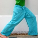 Thai Fisherman Pants Yoga Beach Dance Trousers 280 gram TURQUOISE Cotton FREESIZE