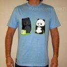BEACH PANDA Tan Fun New CISSE T-shirt Asian L Blue BNWT