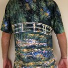 Monet WATER LILY POND Hand Print Fine Art T Shirt Mens XL Extra Large Short Sleeve
