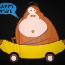 HAPPY TIME Banana Monkey CISSE T-shirt Slim L Black NWT