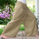 Yoga Trousers Thai XXXL Plus Size Cotton Fisherman Pants SOLID KHAKI Tan Beige