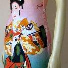 Geisha with Sensu New Japan Art Print Dress S Small Misses 4-6