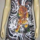 Japanese TIGER IREZUMI Tattoo Art Print Dress Misses Size L Large 12-14