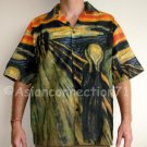 THE SCREAM Edvard Munch Art Print Casual Hawaiian Cut Dress Shirt L Large