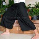 Thai PLUS SIZE Fisherman Pants Capri SHORT Yoga Trousers BLACK Rayon XXL 2XL