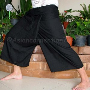 Thai PLUS SIZE Fisherman Pants Capri SHORT Yoga Trousers BLACK Rayon XXL 2XL