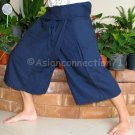 Thai PLUS SIZE Fisherman Pants Capri SHORT Yoga Trousers DARK BLUE Rayon XXL 2XL