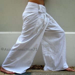Plus Size Thai XXXL Cotton Fisherman Pants Yoga Trousers WHITE