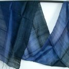 BLUE BLACK New Thai Handwoven Silk Fabric Scarf 10-19