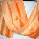 Thai Handcrafted Pure Silk Fabric Scarf Half and Half ORANGE New!