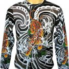 Japanese TIGER IREZUMI Japan Tattoo LONG SLEEVE T Shirt Mens M Medium