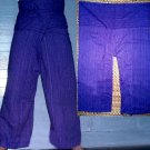 Thai Cotton Drill FREESIZE Fisherman Yoga Pants PURPLE Stripe