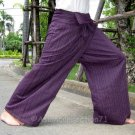 Plus Size Thai XXXL Cotton Fisherman Pants Maroon MANGOSTEEN Stripe