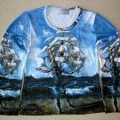 Salvador Dali THE SHIP LONG SLEEVE Fine Art Print Shirt Misses M Medium