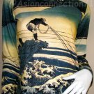 FISHERMAN Ukiyoe Japanese Art Print Long Sleeve T Shirt Misses M