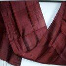 Thai Handmade Pure Silk Fabric Scarf Crimson MAROON Mangosteen