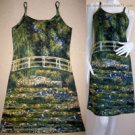 Monet WATER LILY POND New Hand Print Fine Art Dress Misses Size S 4-6