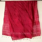 Thai Silk Fabric Scarf Shawl Large BURGUNDY RED Textile Direct from Thailand