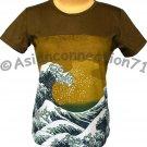 GIANT WAVE Hokusai Japanese UKIYOE Cap Sleeve Japan Art T Shirt Misses L Large