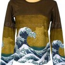 GIANT WAVE Hokusai Ukiyoe LONG SLEEVE Japan Art T Shirt Miss S Small