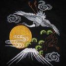 TSURU Fuji Crane Japan EMBROIDERED T-shirt M,L,XL Black