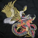 EAGLE & DRAGON Japanese EMBROIDERED T-Shirt Asian L Blk