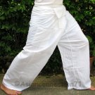 Thai Fisherman Pants Beach Dance Yoga Trousers 280 gram WHITE Cotton FREESIZE