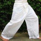 Thai Fisherman Pants Beach Dance Yoga Trousers 280 gram WHITE Cotton FREESIZE