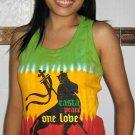 RASTA PEACE ONE LOVE LION New TIE DYE REGGAE Tank Top S